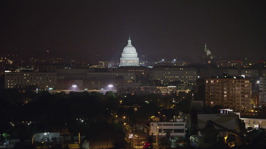 5K stock footage aerial video of the United States Capitol in Washington, D.C., night Aerial Stock Footage | AX77_022