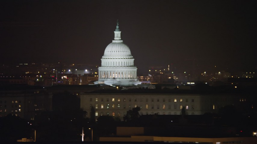 5K stock footage aerial video of the United States Capitol in Washington, D.C., night Aerial Stock Footage | AX77_026