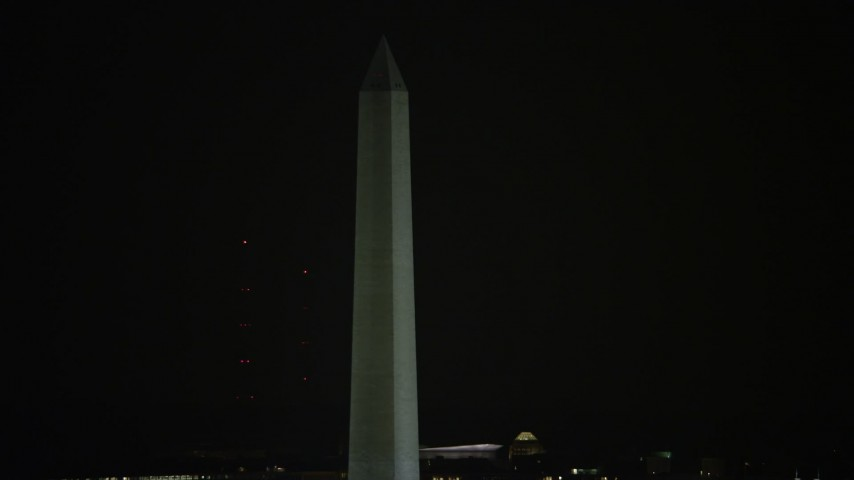 5K aerial video of the famous Washington Monument in Washington, D.C., night Aerial Stock Footage | AX77_038