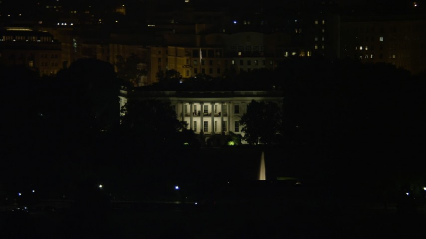 5K stock footage aerial video of The White House, eclipsed by Washington Monument, Washington, D.C., night Aerial Stock Footage | AX77_040