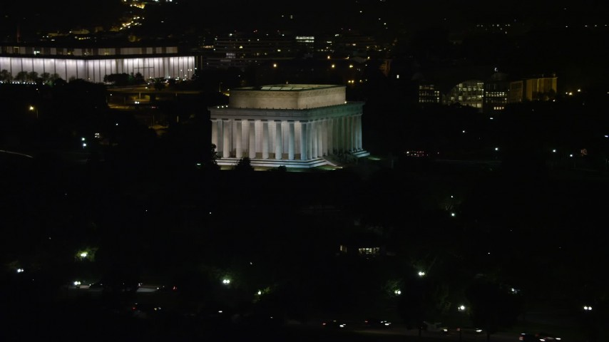 5K stock footage aerial video of The Lincoln Memorial at the National Mall, Washington, D.C., night Aerial Stock Footage | AX77_041