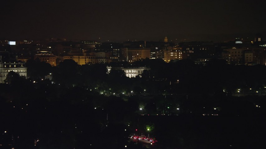 5K stock footage aerial video of view of The White House, Washington, D.C., night Aerial Stock Footage | AX77_042