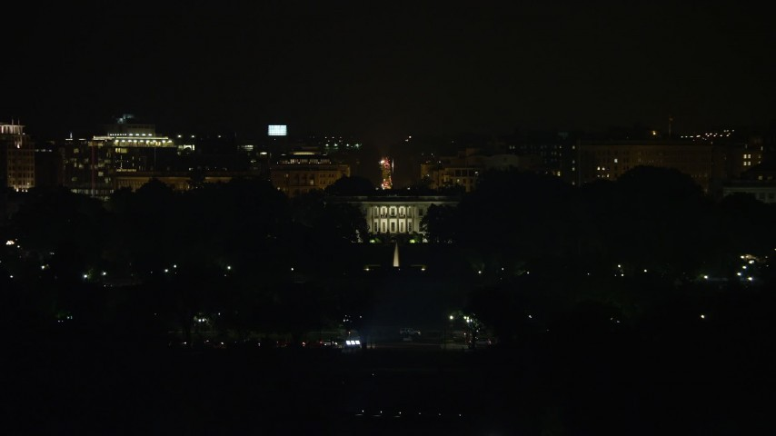 5K stock footage aerial video of view of The White House, Washington, D.C., night Aerial Stock Footage | AX77_042E