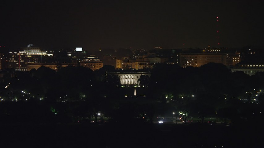 5K stock footage aerial video of The White House and South Lawn Fountain in Washington, D.C., night Aerial Stock Footage AX77_043 | Axiom Images