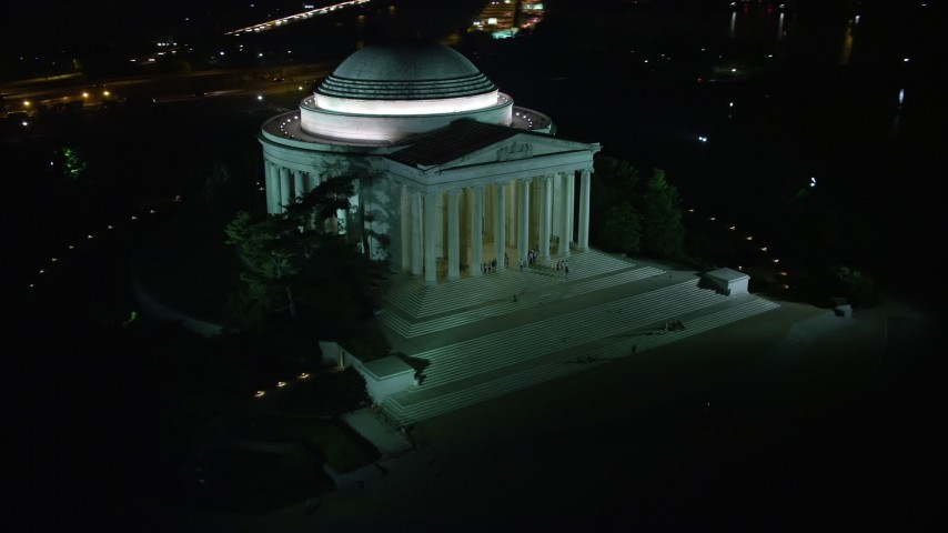 5K stock footage aerial video of the Jefferson Memorial with visitors in Washington, D.C., night Aerial Stock Footage | AX77_045