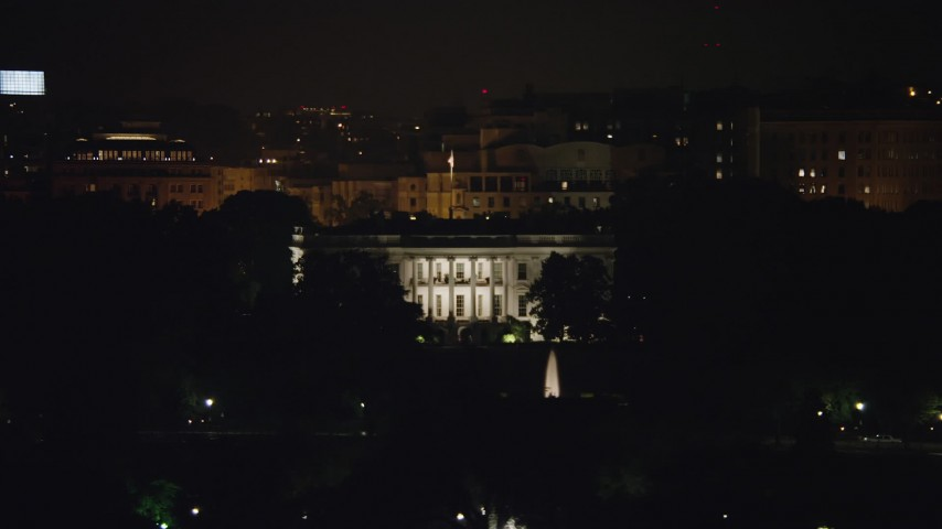 5K stock footage aerial video of The White House and the South Lawn Fountain in Washington, D.C., night Aerial Stock Footage | AX77_048