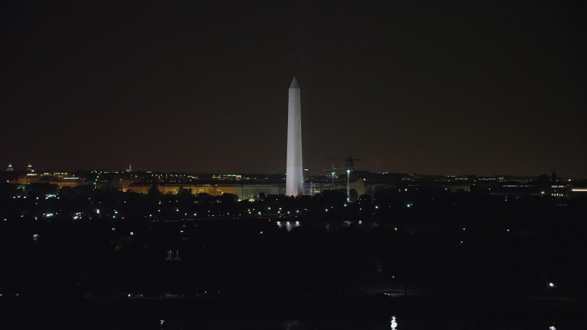 5K stock footage aerial video of the Washington Monument in Washington, D.C., night Aerial Stock Footage | AX77_056