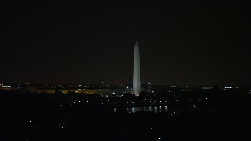 5K stock footage aerial video of the Washington Monument in Washington, D.C., night Aerial Stock Footage   AX77_056E