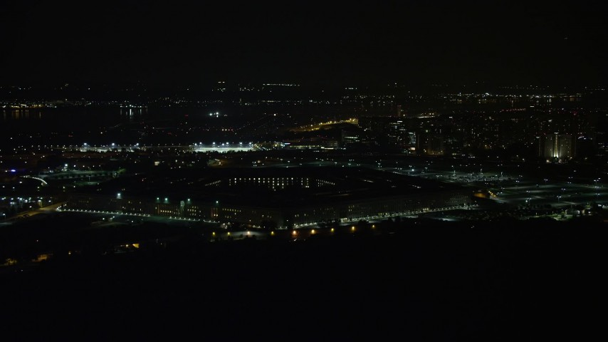 5K stock footage aerial video of the Pentagon in Washington, D.C., at night Aerial Stock Footage | AX77_072