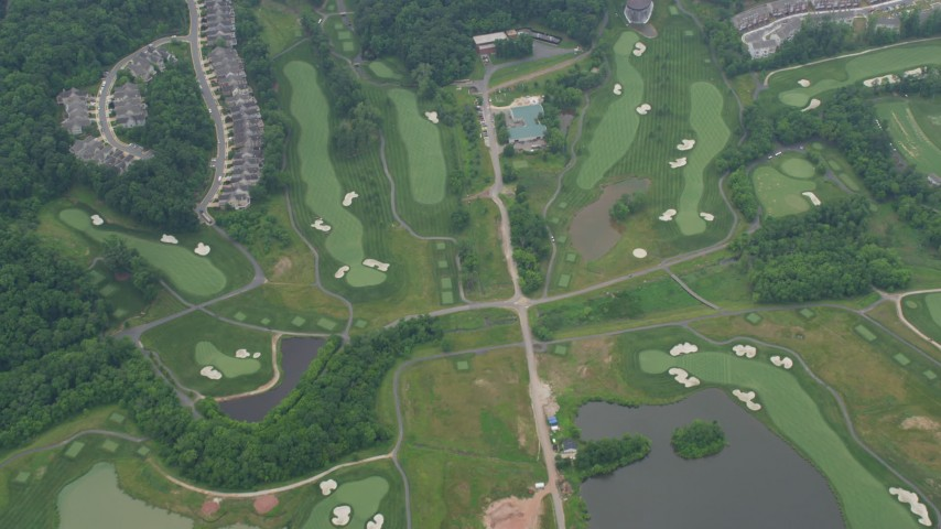 5K aerial video of a reverse view of Trump National Golf Club in Sterling, Virginia Aerial Stock Footage | AX78_041