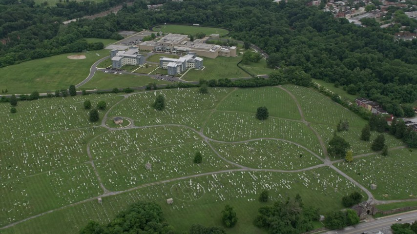 5K stock footage aerial video of Mount Olivet Cemetery and The SEED School of Maryland in Baltimore Aerial Stock Footage | AX78_083
