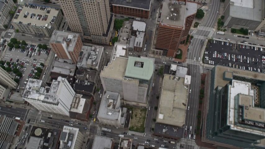 5K aerial video of bird's eye view of city streets and office buildings in Downtown Baltimore, Maryland Aerial Stock Footage | AX78_089