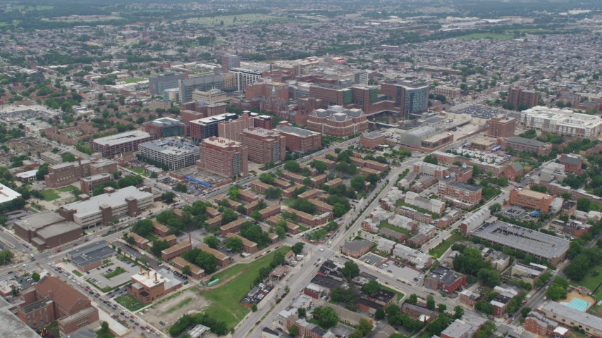 5K aerial video of Johns Hopkins University School of Medicine, Baltimore, Maryland Aerial Stock Footage AX78_090