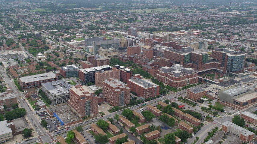 5K aerial video approaching Johns Hopkins Hospital complex in Baltimore, Maryland Aerial Stock Footage | AX78_091
