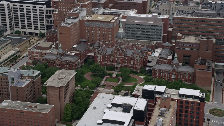5K stock footage aerial video of Johns Hopkins Hospital in Baltimore,  Maryland
