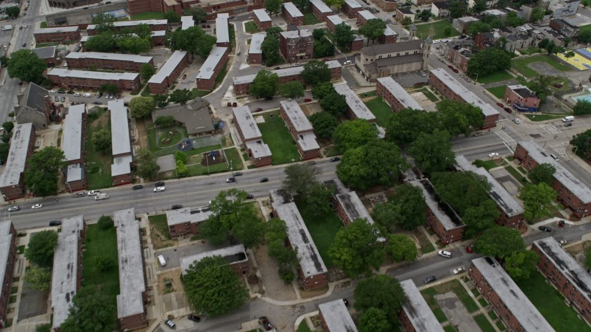 5K stock footage aerial video flying over public housing, Sweet Prospect Baptist, Baltimore City Correctional Center, Maryland Aerial Stock Footage | AX78_093