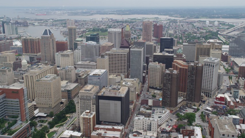 5K aerial video passing Downtown Baltimore skyscrapers, Maryland Aerial Stock Footage | AX78_096