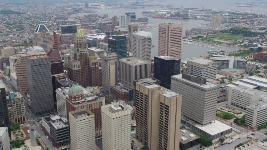 5K aerial video of Downtown Baltimore skyscrapers, Transamerica Tower Baltimore, and Inner Harbor in Maryland Aerial Stock Footage | AX78_098