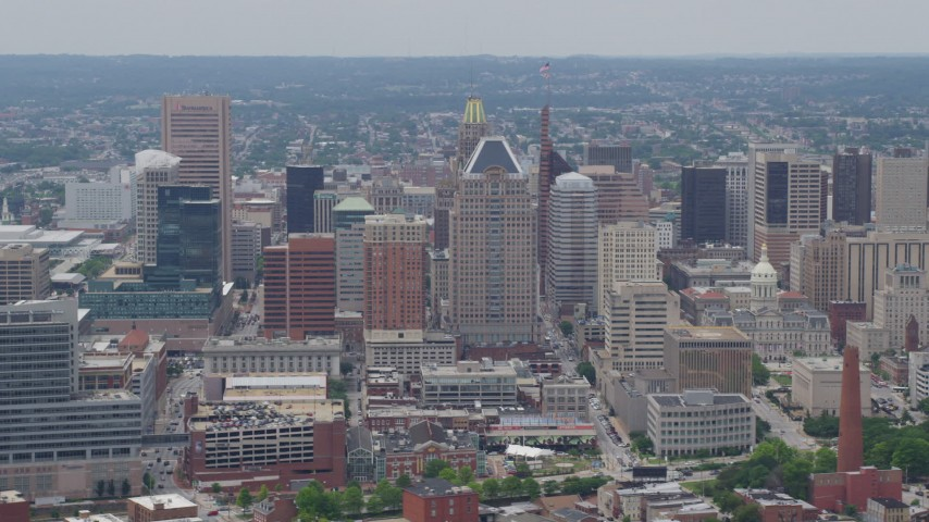 5K aerial video of Baltimore City Hall, downtown skyscrapers, and the Phoenix Shot Tower in Downtown Baltimore, Maryland Aerial Stock Footage | AX78_116