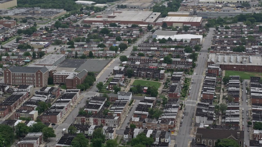 5K stock footage aerial video of urban row houses in Baltimore, Maryland Aerial Stock Footage | AX78_119