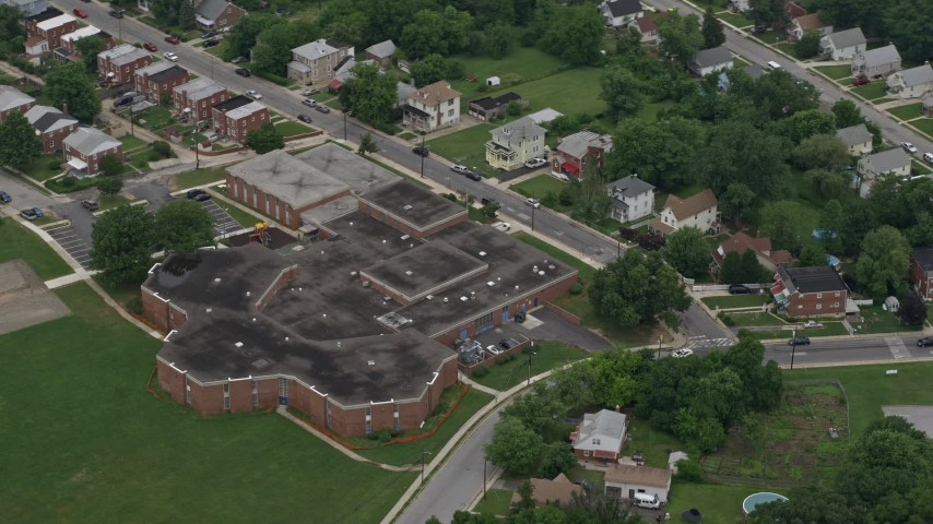 5K aerial video of Furley Elementary School in Baltimore, Maryland Aerial Stock Footage | AX78_123