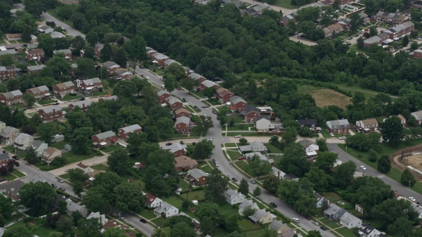 5K aerial video of a suburban neighborhood in Baltimore, Maryland Aerial Stock Footage | AX78_124