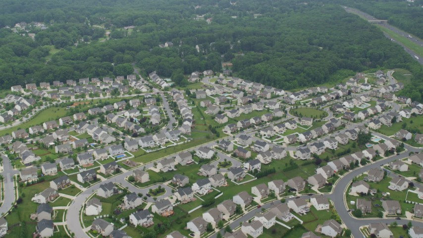 5K aerial video flying over a suburban neighborhood in Perry Hall, Maryland Aerial Stock Footage AX78_133