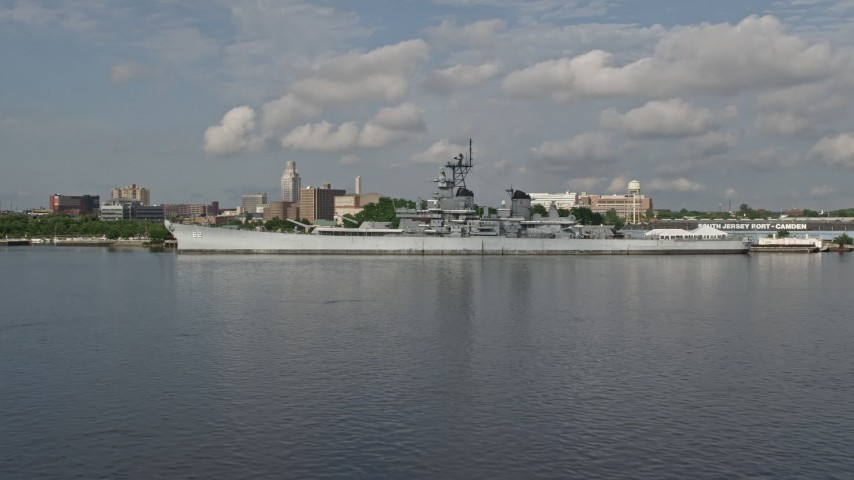 5K stock footage aerial video of USS New Jersey by the Balzano Marine Terminal in Camden, New Jersey Aerial Stock Footage | AX79_001