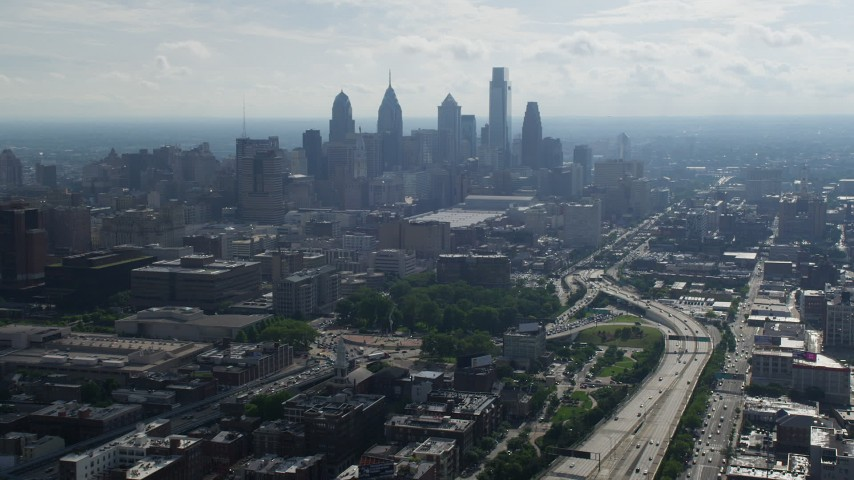 5K stock footage aerial video of Downtown Philadelphia skyline seen from I-676 in Philadelphia Aerial Stock Footage | AX79_005
