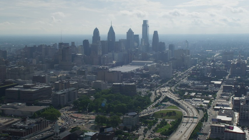 5K stock footage aerial video of the skyline  and Pennsylvania Convention Center in Downtown Philadelphia, Pennsylvania Aerial Stock Footage | AX79_006