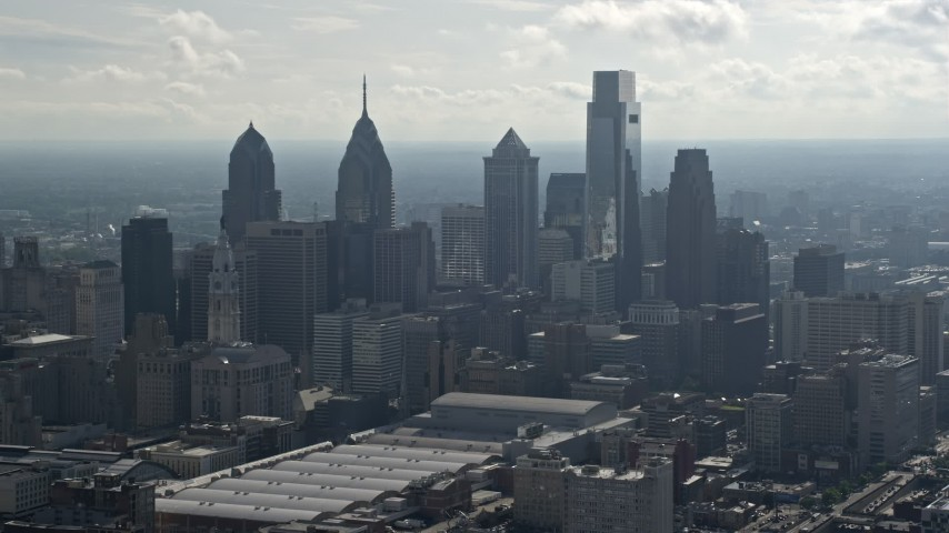 5K stock footage aerial video of tall Downtown Philadelphia skyscrapers, Pennsylvania Aerial Stock Footage | AX79_007