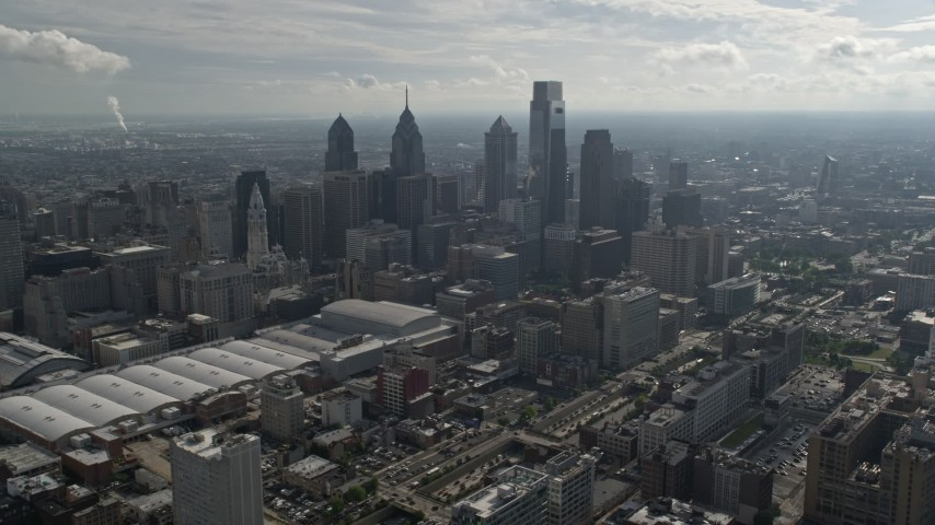 5K stock footage aerial video of Pennsylvania Convention Center and skyscrapers, Downtown Philadelphia, Pennsylvania Aerial Stock Footage   AX79_008E