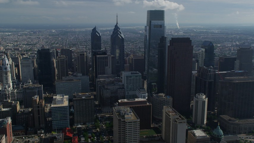 5K stock footage aerial video of tall Downtown Philadelphia skyscrapers, Pennsylvania Aerial Stock Footage | AX79_011