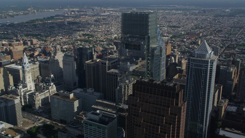 5K stock footage aerial video of towering skyscrapers and Philadelphia City Hall, Downtown Philadelphia, Pennsylvania Aerial Stock Footage | AX79_013