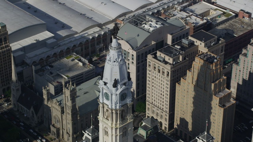 5K stock footage aerial video William Penn statue atop Philadelphia City Hall, Pennsylvania Aerial Stock Footage | AX79_014