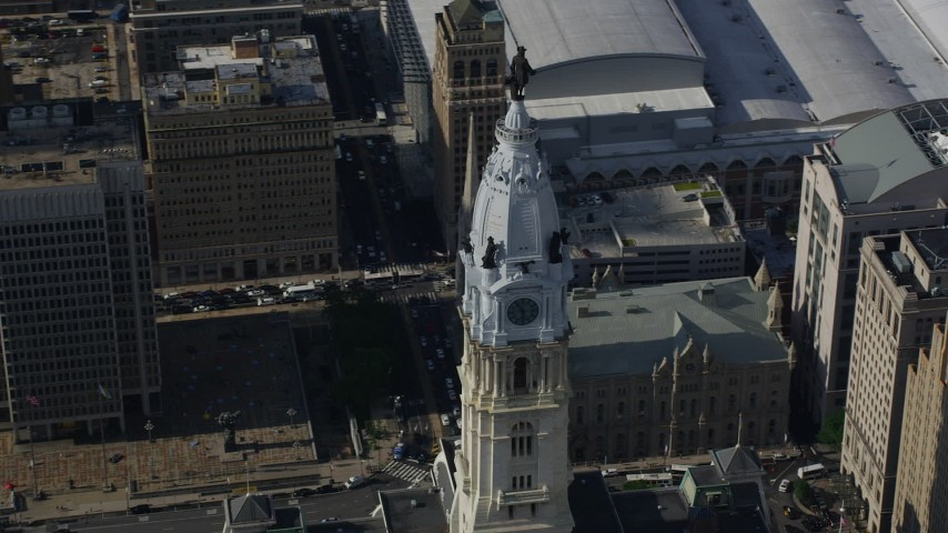 5K stock footage aerial video orbiting Philadelphia City Hall in Pennsylvania Aerial Stock Footage | AX79_015
