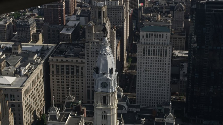 5K stock footage aerial video orbiting William Penn statue on Philadelphia City Hall, Pennsylvania Aerial Stock Footage | AX79_016