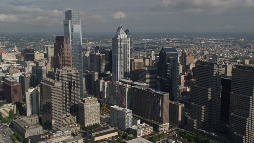 5K stock footage aerial video Downtown Philadephia skyscrapers, Pennsylvania Aerial Stock Footage | AX79_018