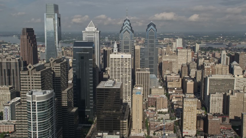 5K aerial video of Downtown Philadelphia's tallest skyscrapers, Pennsylvania Aerial Stock Footage | AX79_019