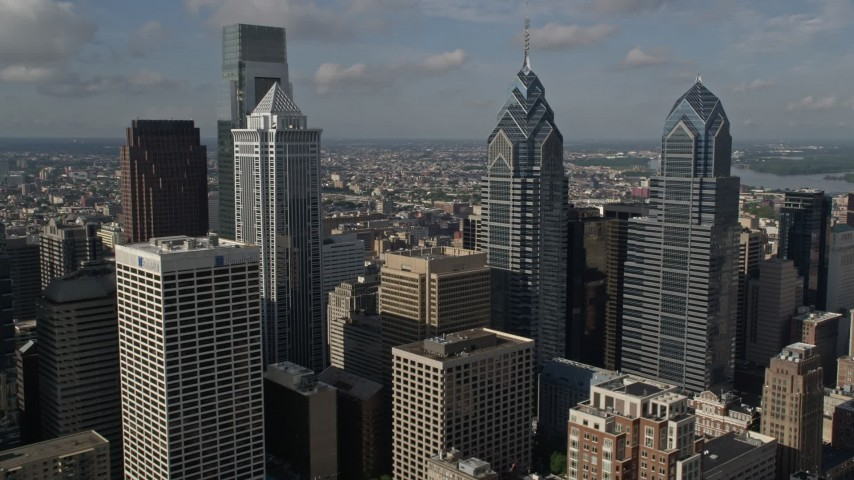 5K stock footage aerial video flying by Downtown Philadelphia's tallest towers, Pennsylvania Aerial Stock Footage | AX79_020