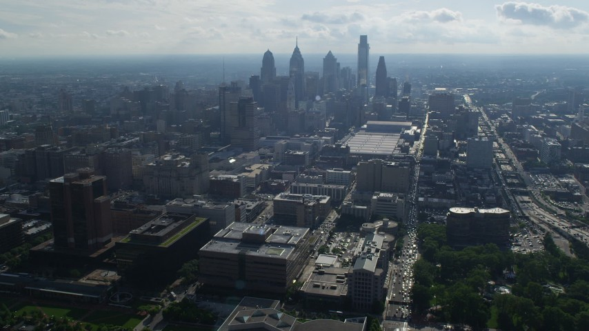 5K stock footage aerial video approaching skyscrapers and Pennsylvania Convention Center in Downtown Philadelphia, Pennsylvania Aerial Stock Footage | AX79_035