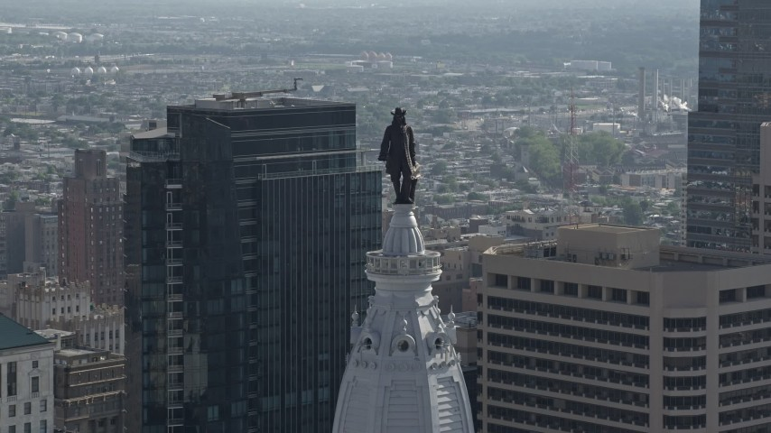 5K stock footage aerial video of the William Penn statue on Philadelphia City Hall, Downtown Philadelphia, Pennsylvania Aerial Stock Footage AX79_039 | Axiom Images