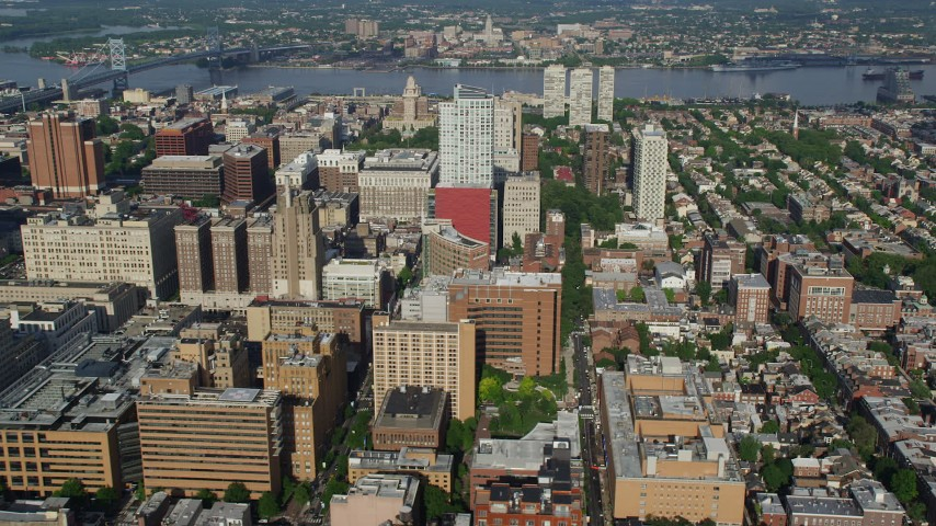 5K aerial video of apartment and office buildings around Washington Square in Downtown Philadelphia, Pennsylvania Aerial Stock Footage | AX79_040