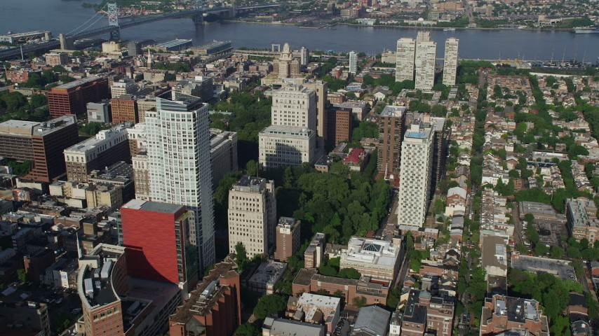 5K stock footage aerial video of apartment and office buildings around Washington Square and Independence National Historic Park in Downtown Philadelphia, Pennsylvania Aerial Stock Footage | AX79_041