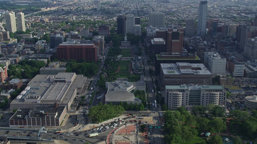 5K aerial video flying over Independence Mall to approach Independence Hall, Downtown Philadelphia, Pennsylvania Aerial Stock Footage | AX79_044