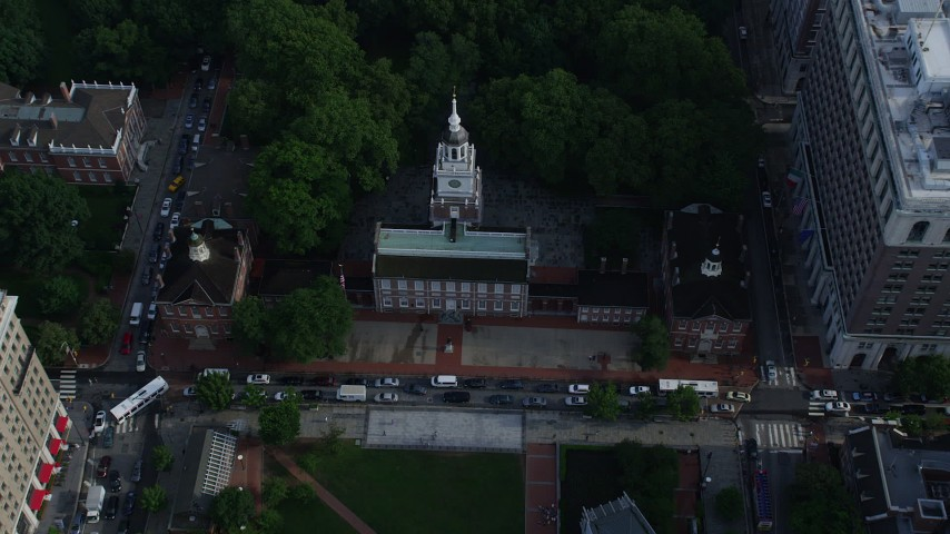 5K aerial video flying over the park to approach Independence Hall, Downtown Philadelphia, Pennsylvania Aerial Stock Footage | AX79_045