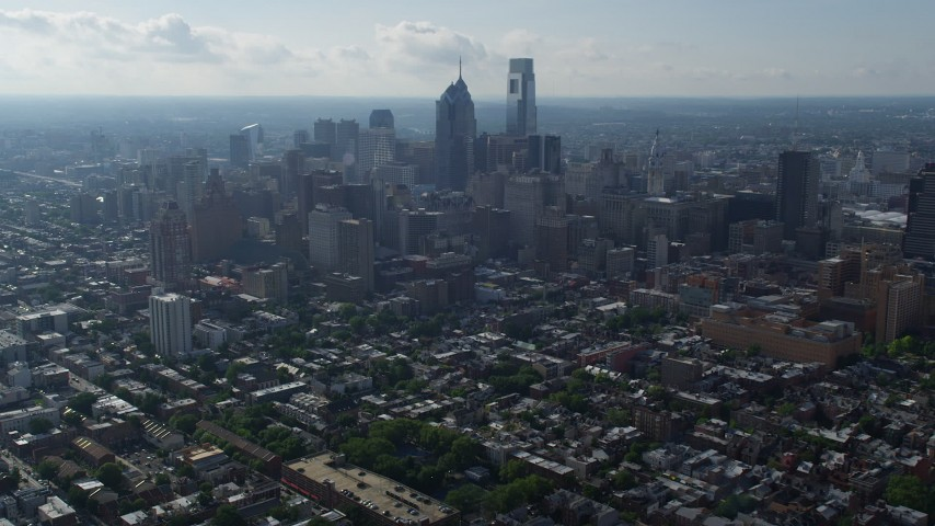 5K stock footage aerial video approaching skyscrapers in Downtown Philadelphia, Pennsylvania Aerial Stock Footage | AX79_047