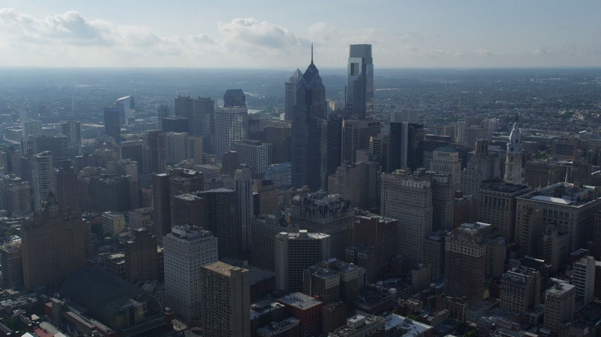 5K stock footage aerial video of One and Two Liberty Place in Downtown Philadelphia, Pennsylvania Aerial Stock Footage | AX79_048