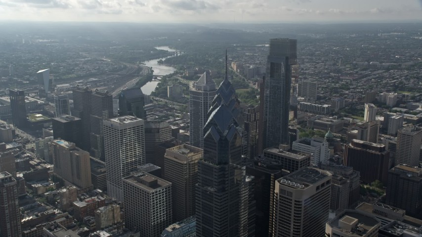 5K aerial video flying over One and Two Liberty Place in Downtown Philadelphia, Pennsylvania Aerial Stock Footage | AX79_049