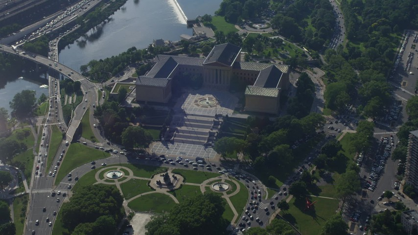 5K stock footage aerial video flying by the Philadelphia Museum of Art, Pennsylvania Aerial Stock Footage | AX79_050